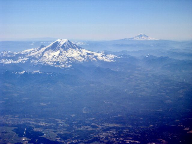 mount-baker-mount rainier-plane-window-photo