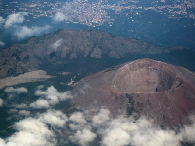 Mt. Vesuvius near Naples, Italy, seen from the air. This volcano is famous for its eruption that destroyed the ancient city of Pompeii.