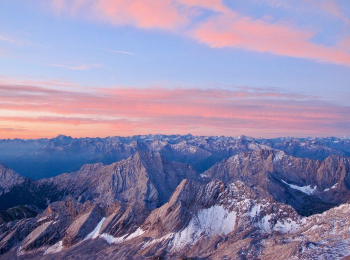 Watching the sunrise from the Zugspitze