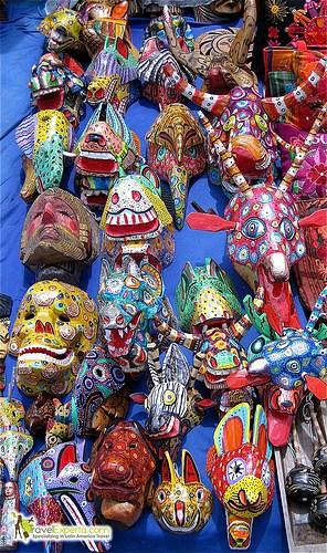 typical guatemalan handmade masks photo
