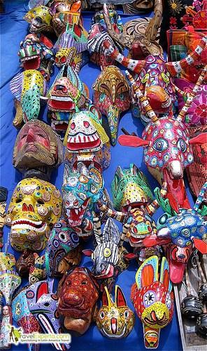 typical guatemalan handmade masks photo