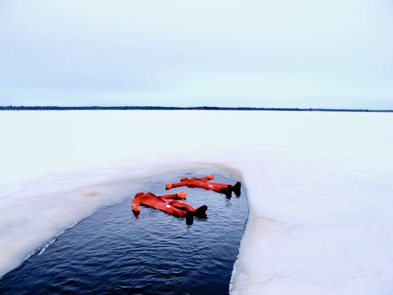 Ice-floating experience in Finnish Lapland