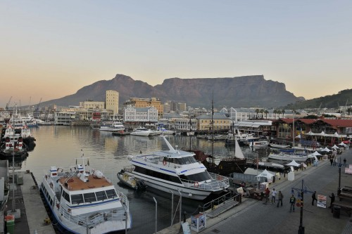 The Table Mountain as viewed from cape Town's V&A Waterfront