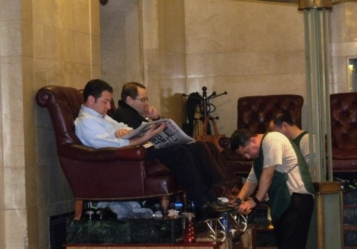 Shoe-shining in Grand Central