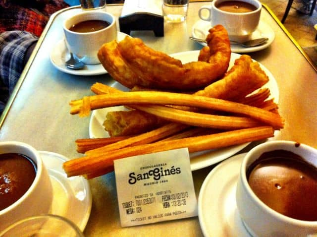 Churros and porras with hot chocolate at Chocolateria San Ginés