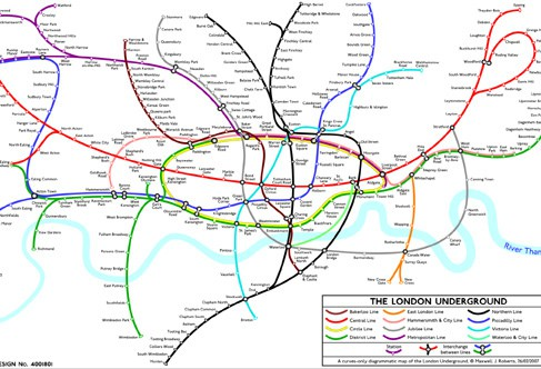 London curvy Tube Map (image courtesy of Annie Mole)