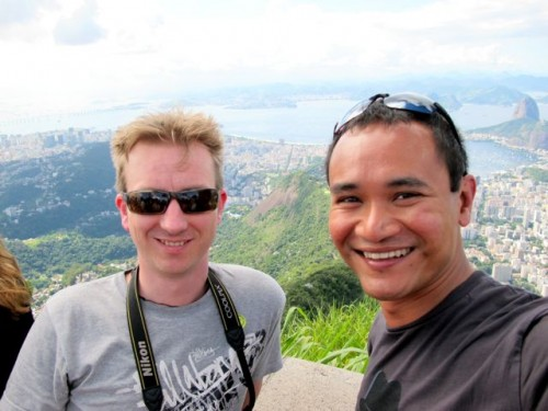 Me and Melvin at the viewing deck of the Christ Statue, Corcovado.