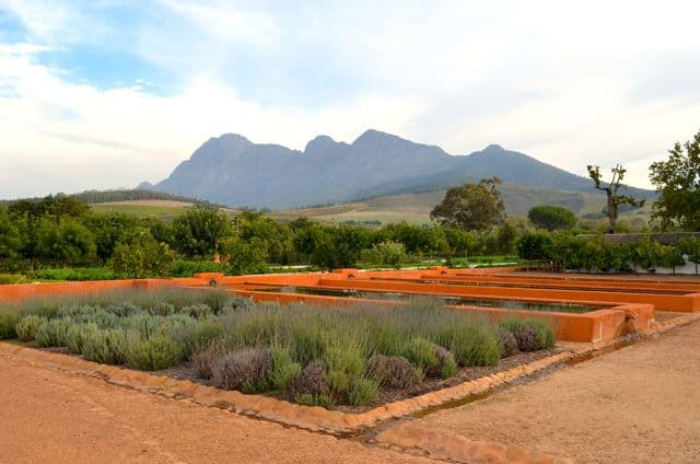 View of the muntains and dams from the gardens.