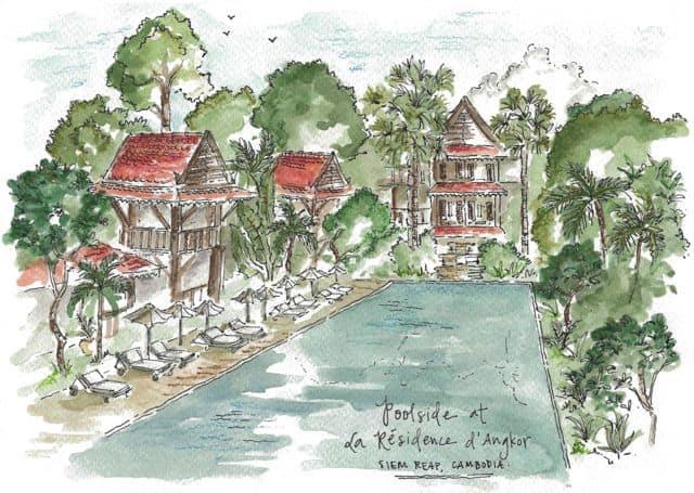 A sketch of La Residence d'Angkor bu Candace Rose Rardon.