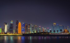The Doha skyline by night (image courtesy of Sam Agnew)