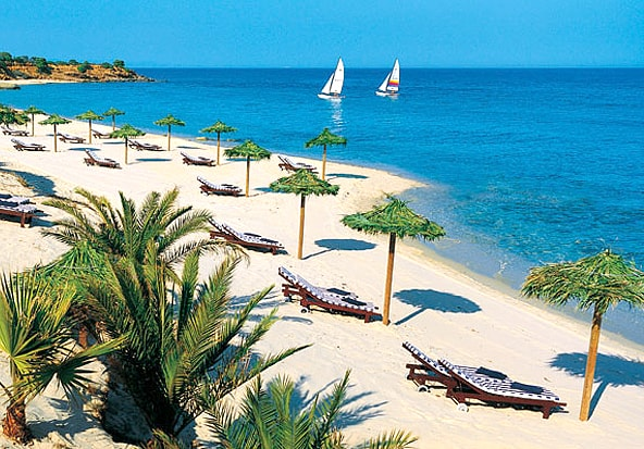The beach at Forte Village in Pula.