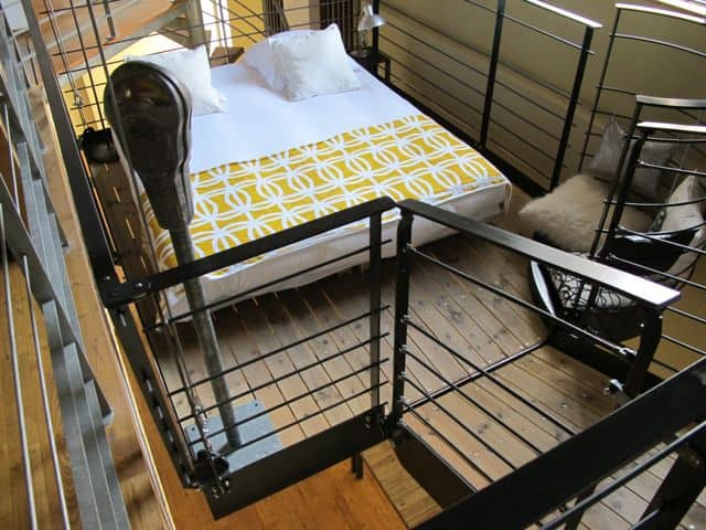 The suspended bed in the loft.