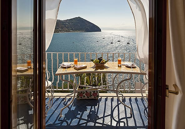Breakfast is served on the private terrace at Villa Margherita.