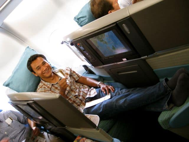 In cathay Pacific's Business Class cabin, screen separate each passenger.
