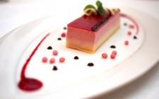 The delightful raspberry bavarois with raspberry caviar.