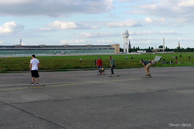 Fun on the old runway of Tempelhof Airport (image courtesy of Steven Vance)