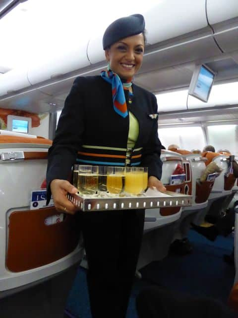 Friendly crew and warm smiles on board Air Mauritius.