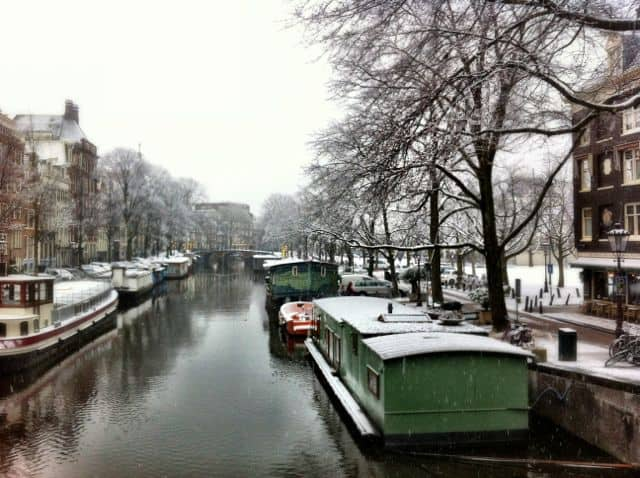 A snow canal in Amsterdam.