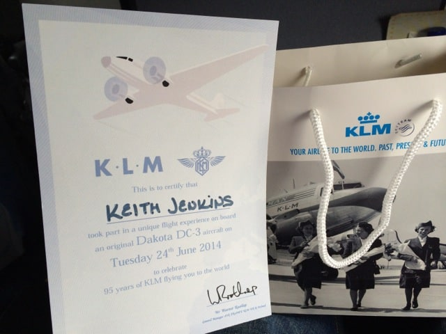 keith-klm-dakota-certificate-photo