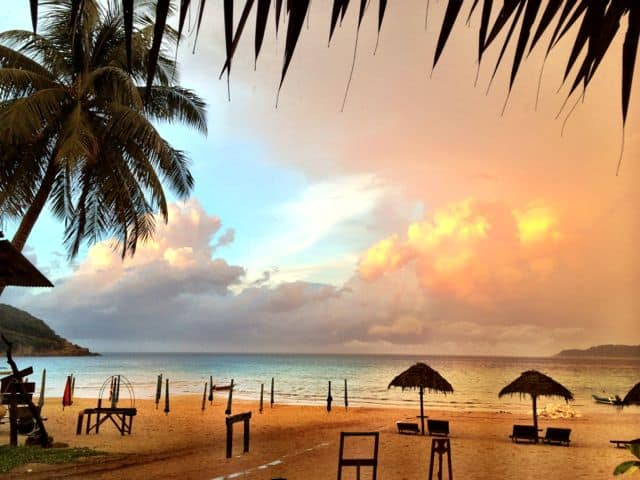 A glorious sunset appeared after a thunderstorm at Perhentian Kecil.
