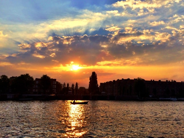Velvet moment: travel photo – sunset in Amsterdam
