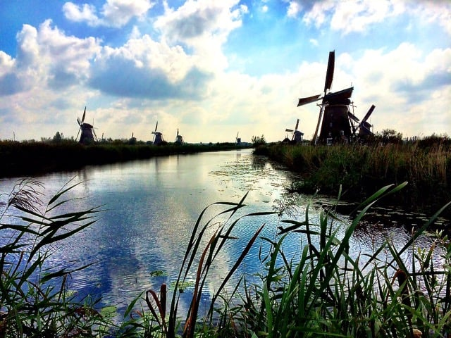 The historic windmills of Kinderdijk.