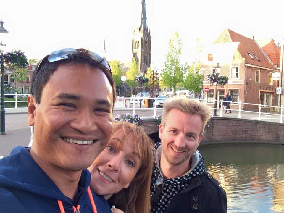 Angelika and Melvin visiting me having fun in Weesp, a small town near Amsterdam.
