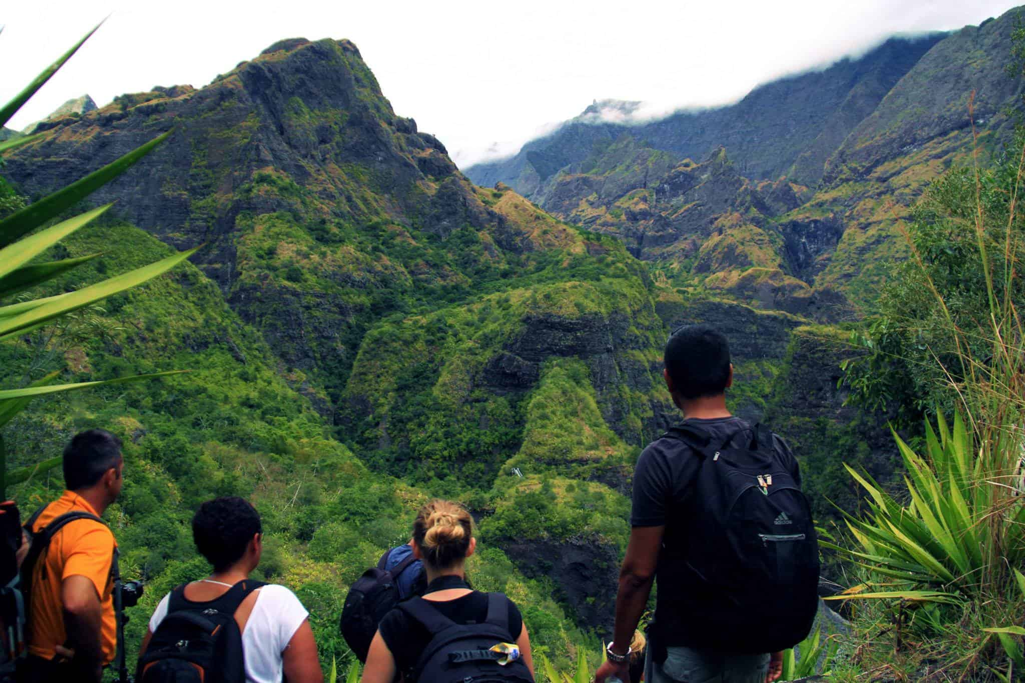 On a hike through the spectacular interior of Reunion Island.