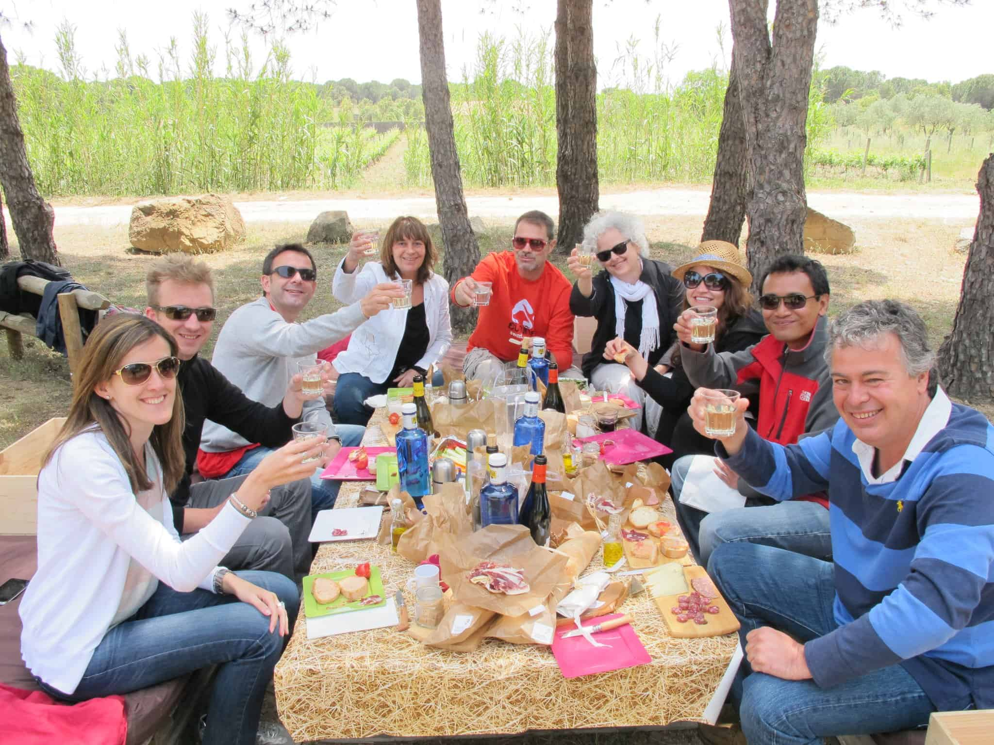 Picnic in a vineyard in Costa Brava.