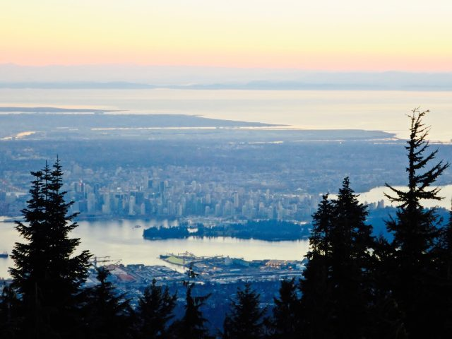 vancouver skyline view from grouse mountain photo
