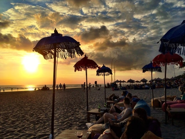Sunset at Seminyak beach.