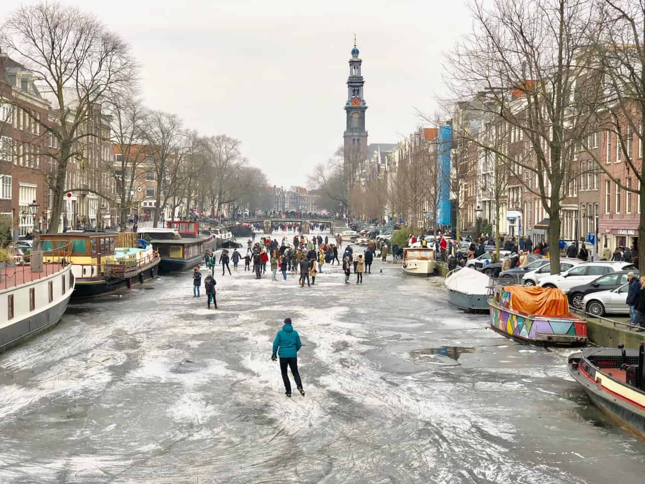 On the frozen canals of Amsterdam