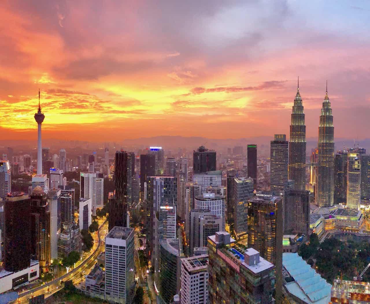 A stunning sunset in Kuala Lumpur
