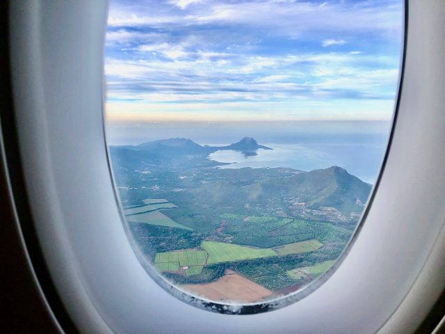 plane window view mauritius