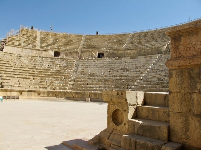 roman ruins in jerash south theater photo