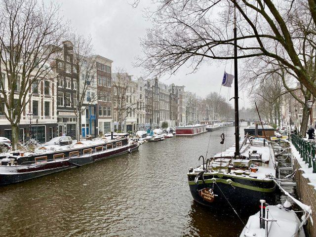 Amsterdam winter canal photo